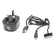 USB 2IN 2 Charger with Two USB Power Port for iPad, Samsung, HTC and More