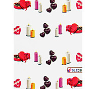3PCS Water Transfer Printing Nail Stickers NO.8(Assorted Colors)