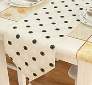 Clássico de poliéster bege bordado floral caminhos de mesa