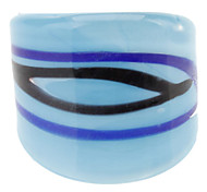 Wave Pattern Abstract Style Colored Glaze Ring