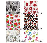 1PCS Laser Foil Nail Decorations Starry Nail Stickers No.31-36(130x4.5x0.1cm,Assorted Colors)