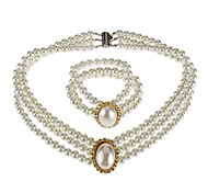 pérola oval conjunto pulseira colar