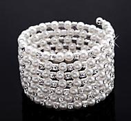 elegante Damen-Strass-Strang / Tennis Armband in White Pearl
