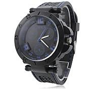Analogico al quarzo blu uomo Dial Sport orologio da polso in silicone banda nera