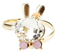 Crystal Rabbit Bow Opening Ring