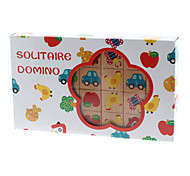 Wooden Solitaire Domino Cards Set with Cartoon Patterns