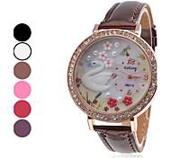 quartzo analógico cisne padrão de diamante caso pu banda relógio de pulso das mulheres (cores sortidas)