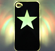LED Cellphone Flash vijfpuntige ster patroon Hard Case voor iPhone 4/4S (Zwart)