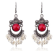 European Style  retro resin gem pearl Antique Silver Earrings