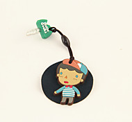 Cartoon Rubber Boy Anti-Dust Earphone Jack with Mobil Phone Screen Cloth