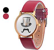 Uomo e baffi cappello modello PU analogico al quarzo orologio da polso da donna (colori assortiti)