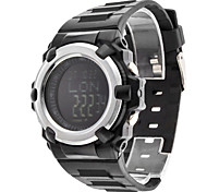 Men's Air Pressure Multi-Functional Silver Case Black Rubber Band Digital Wrist Watch