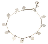 Peach Heart Piece Combination Metal Anklet(Platinum)