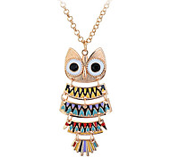 Lureme®Alloy Acrylic Owl Pattern Necklace