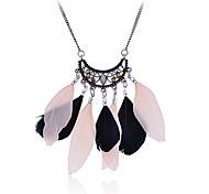 Lureme®Vintage Alloy Hollow-out Flower Pattern Feather Pendant Necklace