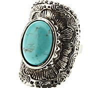 Frauen Türkis geometrischen Bogen Silber Ring