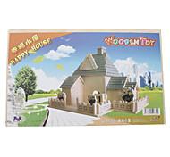 DIY di legno 3D Happy House Style Puzzle (2 pezzi)