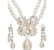 women's Flower Earrings + Necklace Pearl Jewelry Set