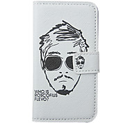 Cartoon Man's Head Portrait Pattern Leather Hard Case for iPhone 4/4S(White)