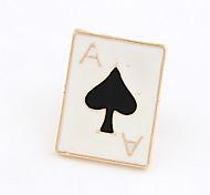 Banhado a ouro Alloy Acrílico Pôquer Spade Padrão Broche