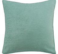 Chenille Solid Blue Polyester Decorative Pillow Cover