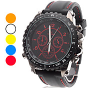 Men's Casual Style Black Dial Silicone Band Quartz Wrist Watch (Assorted Colors)