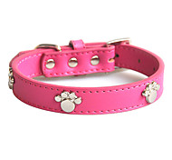 Dog Collars Adjustable/Retractable Red / Blue / Brown / Pink Genuine Leather