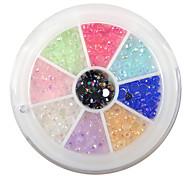 yemannvyou®240pcs 9-color de las uñas de 3 mm de diamantes de imitación de acrílico del arte