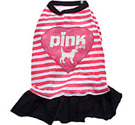 Pink Dog Stripe Pattern Pure Cotton Dresses for Dogs (S-L)