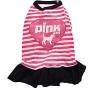 Dog Dress Dog Clothes Letter & Number Hearts Blushing Pink