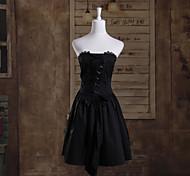 Corto sin mangas Negro Gothic Lolita Princess Dress Cotton