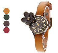 Women's Flower Style Leather Analog Quartz Wrist Watch (Assorted Colors)