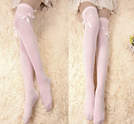 Pink Ribbon Baumwolle Sweet Lolita Over Kniestrümpfe