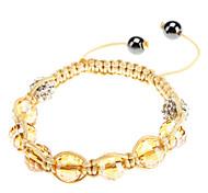 Cut Diamond Crystal Ball Wwoven Adjustable Bracelet