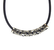 Hollow Out Circle Metal Leather Cord Necklace