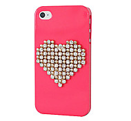 Plastic Zircon Heart Pattern Hard Case for iPhone 4/4S