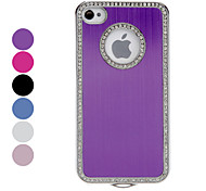 Solid Color Diamond Frame Brushed Aluminum Hard Case for iPhone 4/4S (Assorted Colors)