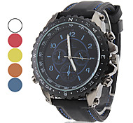 Men's Racing Style Black Silicone Band Quartz Wrist Watch (Assorted Colors)