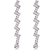 Fashion Silver Plated Claw Crystal Long Earrings