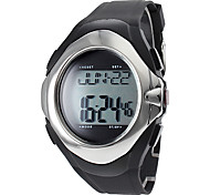 Unisex Calorie Counter hartslagmeter Style Silicone Digital Automatic Wrist Watch (Black)