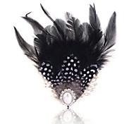 ventilador de aleación lureme®vintage broche de plumas patrón de perlas