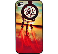The Setting Sun Coloured Drawing Pattern Black Frame PC Hard Case for iPhone 4/4S