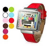 Women's TV Pattern Square Case PU Band Quartz Wrist Watch (Assorted Colors)