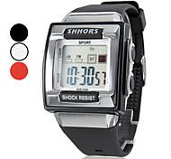 Relógio de Pulso Unissex Digital LCD Quadrado com Pulseira de Borracha