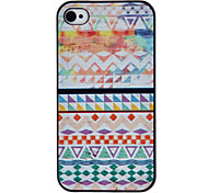 Geometric Figure Coloured Drawing Pattern Black Frame PC Hard Case for iPhone 4/4S
