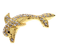 Rhinestone Decorated Dolphin Shape Metal Car Stickers (Assorted Color)