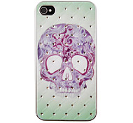Tattoo Skull Pattern Zircon Back Case for iPhone 4/4S