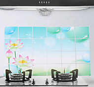 90x60cm Lotus Pattern Oil-Proof Water-Proof Kitchen Wall Sticker