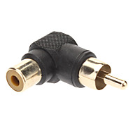 Right Angle RCA Female to Male Converter Adapter Black