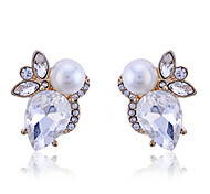 Fashion Crystal Water Drop Shape Pearl Earrings